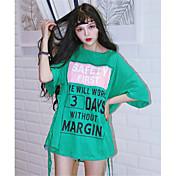 Mujer Bonito Noche Vacaciones Verano Camiseta,Escote Redondo Un Color Letra Manga Corta Algodón Medio