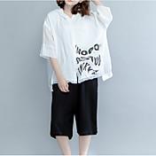 レディース カジュアル/普段着 Tシャツ,シンプル フード付き ソリッド レタード コットン ハーフスリーブ