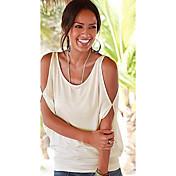 Mujer Simple Casual/Diario Camiseta,Escote en U Un Color Manga Corta Algodón Fibra de bambú