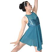 バレエ ワンピース 女性用 子供用 演出 ナイロン スパンデックス スパンコール ライクラ ドレープ スパンコール 2個 ノースリーブ ナチュラルウエスト ドレス ヘッドピース