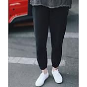 Mujer Chic de Calle Tiro Medio Microelástico Chinos Pantalones,Corte Ancho Un Color