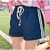 Mujer Activo Tiro Alto Microelástico Shorts Pantalones,Holgado A Rayas