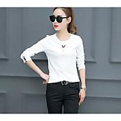Mujer Simple Camiseta,Escote Redondo Un Color 1/2 Manga Algodón