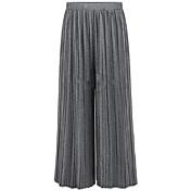 Mujer Chic de Calle Tiro Medio Microelástico Chinos Pantalones,Corte Ancho Perneras anchas Un Color