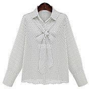 レディース お出かけ 春 シャツ,シンプル シャツカラー 幾何学模様 ポリエステル 長袖 ミディアム