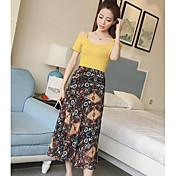 Mujer Sencillo Casual/Diario Verano T-Shirt Falda Trajes,Escote Barco Estampado Manga Corta Microelástico