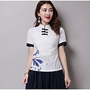 Mujer Vintage Casual/Diario Verano Camiseta,Escote Redondo Un Color Estampado Manga Corta Lino Medio