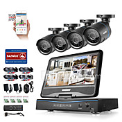 Sannce® 8ch 4pcs 720p lcd dvr resistente a la intemperie sistema de seguridad de vigilancia soportado analógico ahd tvi cámara ip