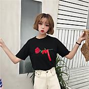 レディース カジュアル/普段着 Tシャツ,シンプル キュート ラウンドネック 刺しゅう コットン 半袖
