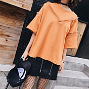 Mujer Bonito Camiseta,Escote Redondo Un Color Manga Corta Poliéster