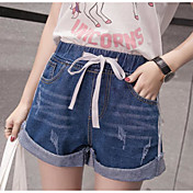 Mujer Sencillo Tiro Medio Microelástico Vaqueros Shorts Pantalones,Perneras anchas Un Color