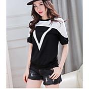 Mujer Simple Casual/Diario Camiseta,Escote Redondo Bloques Manga Corta Algodón