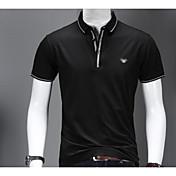 メンズ 日常 カジュアル Polo,シンプル シャツカラー ソリッド コットン 半袖