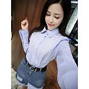 Mujer Sexy Casual/Diario Verano Camisas Falda Trajes,Cuello Camisero A Rayas Manga Larga
