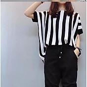 Mujer Chic de Calle Casual/Diario Primavera Camisas Falda Trajes,Escote Redondo Un Color Manga Corta