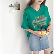 Mujer Simple Casual/Diario Camiseta,Escote en Pico Un Color Letra Manga Corta Algodón