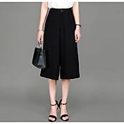 Mujer Sencillo Tiro Medio Microelástico Perneras anchas Pantalones,Holgado