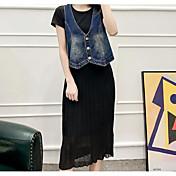 Mujer Primavera Verano T-Shirt Vestidos Trajes,Escote Redondo Manga Corta Microelástico