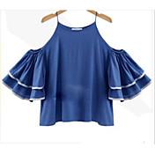 Mujer Sexy Bonito Noche Verano Camiseta,Escote Redondo Un Color 3/4 Manga Lino