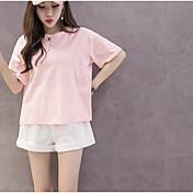 Mujer Moderno / Contemporáneo Casual/Diario Verano T-Shirt Pantalón Trajes,Escote Redondo Un Color Manga Corta