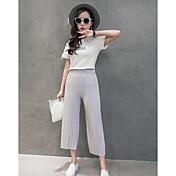 Mujer Sencillo Tiro Medio Microelástico Chinos Pantalones,Perneras anchas Un Color