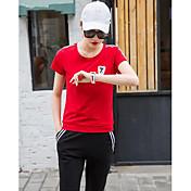 Mujer Casual Casual Deportes Verano T-Shirt Pantalón Trajes,Escote Redondo Un Color Manga Corta strenchy
