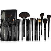 Make-up For You® ポニーヘア・プロ仕様メイクブラシ32本セット 抗菌加工 パウダー/頬紅/アイシャドー/アイブロー/まつげ/リップ ブラック
