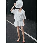 Mujer Simple Casual/Diario Verano T-Shirt Falda Trajes,Cuello Camisero Un Color Manga Tres Cuartos Microelástico