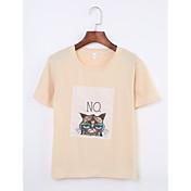 レディース 日常 カジュアル/普段着 夏 Tシャツ,シンプル ラウンドネック プリント コットン 半袖 薄手