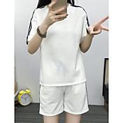 Mujer Simple Deportes Verano T-Shirt Pantalón Trajes,Escote Redondo Un Color Manga Corta Microelástico