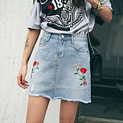 Mujer Tiro Alto Sobre la Rodilla Faldas,Línea A Floral