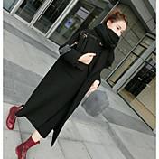 Mujer Simple Casual/Diario Invierno Abrigo,Cuello Camisero Un Color Manga Larga Algodón Lino Acrílico Largo