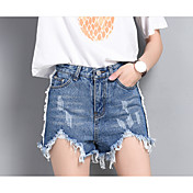 Mujer Sencillo Tiro Alto Inelástica Vaqueros Shorts Pantalones,Perneras anchas Un Color