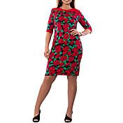 Mujer Vaina Vestido Casual/Diario Tallas Grandes Vintage,A Lunares Floral Escote en Pico Maxi Media Manga Algodón Poliéster VeranoTiro