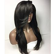 Mujer Pelucas de Cabello Natural Cabello humano Encaje Frontal Frontal sin Pegamento 150% Densidad Liso Peluca Negro Azabache Negro