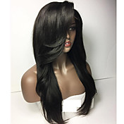 gulelessフルレースウィッグストレート髪のかつら重いバングス自然な髪のかつらgulelessレースのフロントのかつら黒の女性のための速い船積み