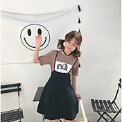 レディース カジュアル/普段着 夏 Tシャツ(21) スカート スーツ,シンプル ラウンドネック 仕様 半袖 マイクロエラスティック