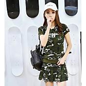 Mujer Otros Casual Verano T-Shirt Pantalón Trajes camuflaje Manga Corta
