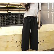 Mujer Sencillo Alta cintura Microelástico Corte Ancho Perneras anchas Pantalones,Holgado Un Color Sexy Color puro Gasa