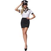 コスプレ衣装 パーティーコスチューム 警官 キャリアコスチューム イベント/ホリデー ハロウィーンコスチューム プリント クラバット ドレス ハット 武器&鎧 ハロウィーン カーニバル 女性用