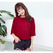 レディース カジュアル/普段着 Tシャツ,シンプル ラウンドネック ソリッド ナイロン 七分袖