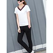 Mujer Casual Activo Diario Casual Verano T-Shirt Pantalón Trajes,Escote en Pico Un Color A Rayas Bloques Manga Corta