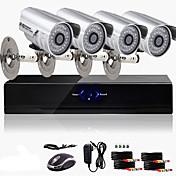 Kit CCTV DVR de 4 Canales (4 Cámaras a Color Impermeables de Exterior 600TVL) Precio Ultra Bajo