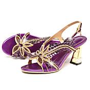 Mujer Sandalias Confort Innovador Cuero Verano Otoño Casual Vestido Paseo Confort Innovador Pedrería Hebilla Tacón Stiletto Dorado Morado