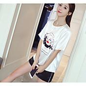 Mujer Casual Diario Casual Verano T-Shirt Pantalón Trajes,Escote Redondo Estampado Bloques Manga Corta Microelástico