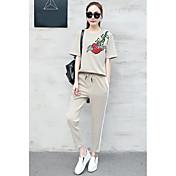 Mujer Casual Verano Sudadera Pantalón Trajes,Escote Redondo Un Color Floral Manga Corta Microelástico
