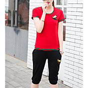 Mujer Casual Diario Casual Verano T-Shirt Pantalón Trajes,Escote Redondo A Rayas Bloques Manga Corta Microelástico