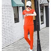 Mujer Deporte Casual/Diario Verano T-Shirt Pantalón Trajes,Escote Redondo Un Color Manga Corta