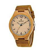 女性用 男性用 ファッションウォッチ 腕時計 ウッド 日本産 クォーツ 木製 PU 本革 バンド チャーム エレガント腕時計 カーキ