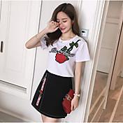 Mujer Casual Diario Casual Verano T-Shirt Falda Trajes,Escote Redondo Floral Bloques Bordado Manga Corta Microelástico